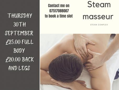 Steam Masseur Special Thu 30th September