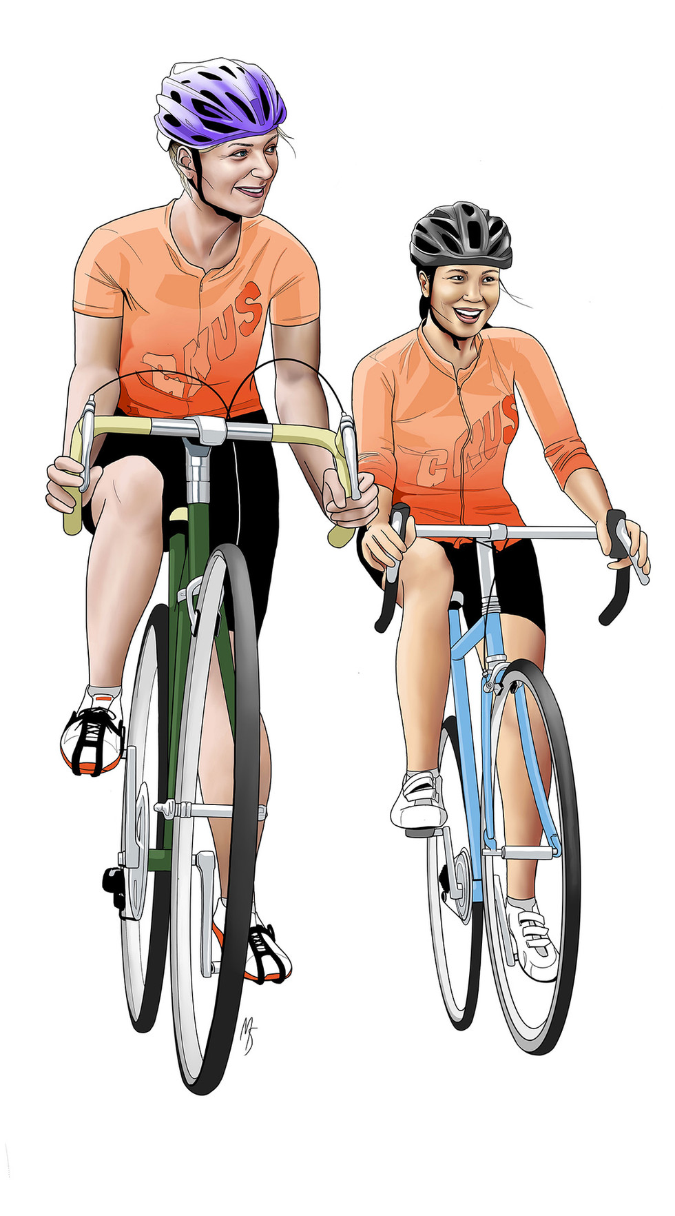 Character illustrations for Cyclist-Driver Safety Campaign, Town of Milton