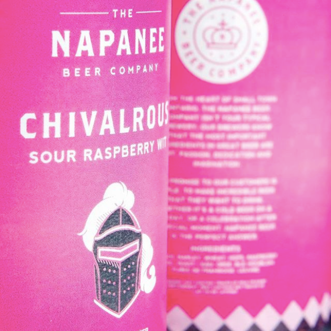 "Product artwork: Napanee Beer Company ""Chivalrous"" Sour Raspberry Wheat"