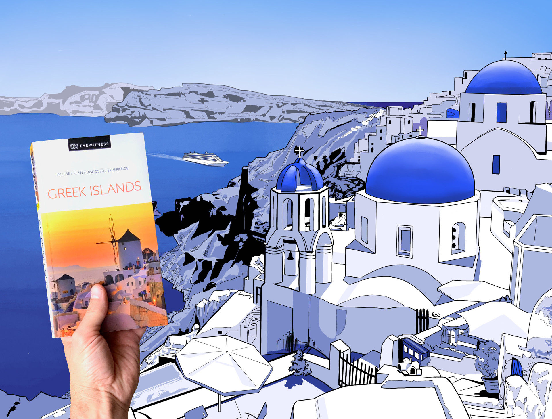 DK Eye Witness Travel Guide: Greek Islands. illustration for Indigo Plum Rewards Contest