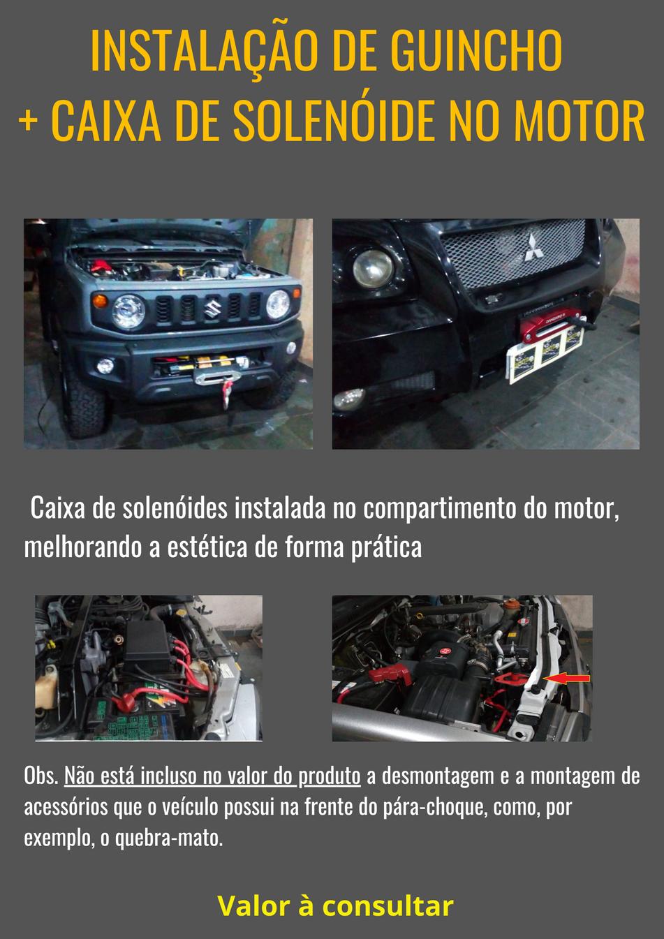 Instalação de Guincho + Caixa de solenóide no compartimento do motor