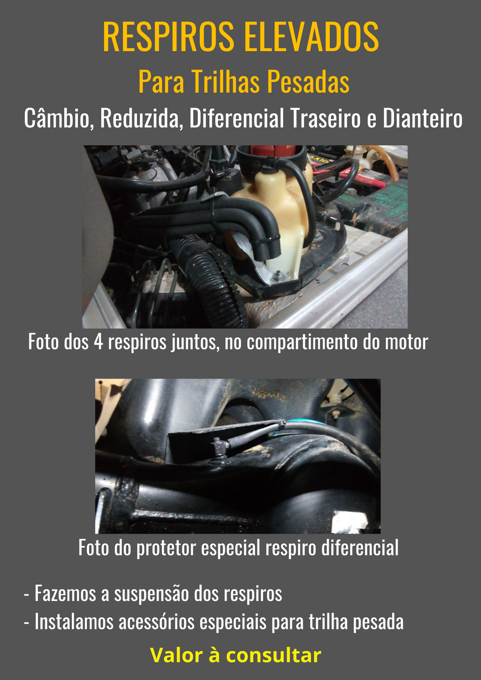Instalação de Respiros Elevados para trilhas pesadas (câmbio, reduzida, diferencial traseiro e diferencial dianteiro)