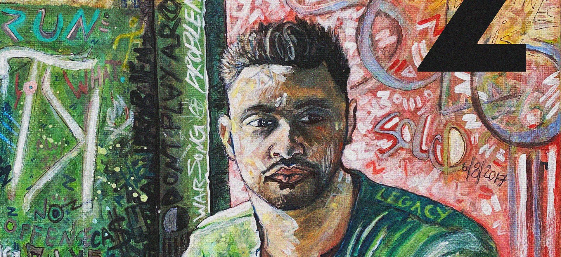 "Music Illustration Highlight Artist: Tony K  Close up of details. 12"" x 12"" canvas"