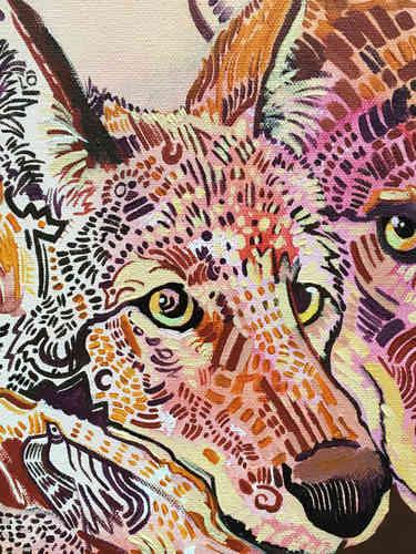 "Close up of details. 16"" x 20"" canvas"