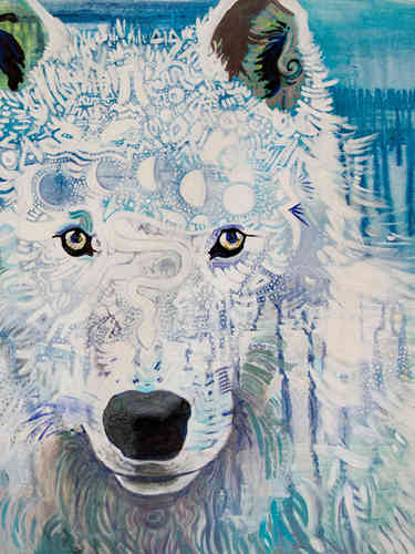 "Close up of details. 36"" x 24"" canvas"