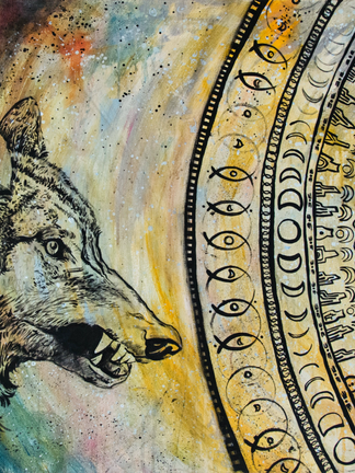"""The Wolf and the Moon 36"""" x 24""""canvas"""