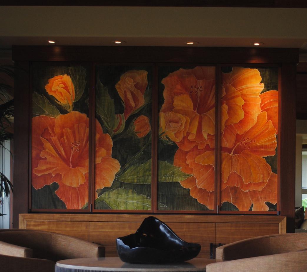 Orange Hibiscus Panels TV enclosure.jpg
