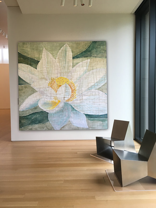 Fine Art by Roberta Ahrens, White Water Lotus, White, Teal, Yellow, Water Lily, Museum quality Fine Art