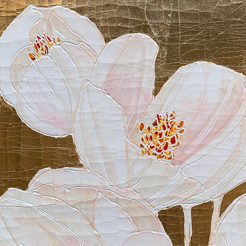 White Tulip on Gold metal Leaf