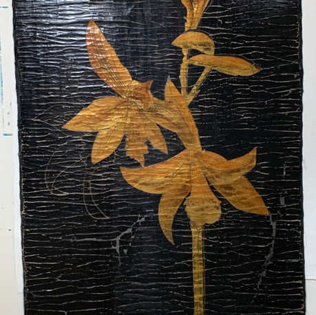 Golden Orchid on Black Tapestry