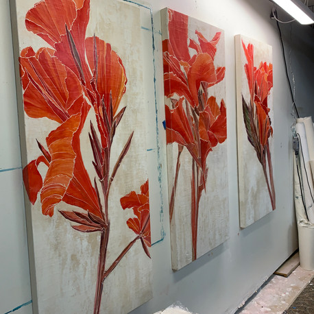 Red Canna Triptych - in the studio