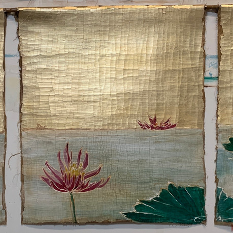 Floating Pinks Tapestry triptych