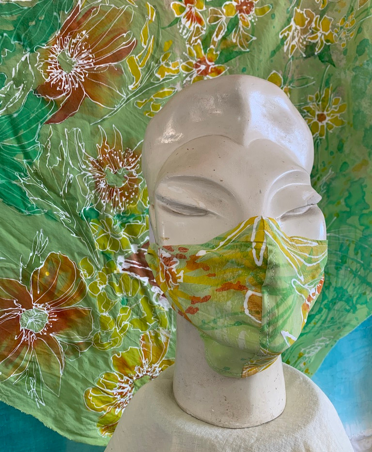 Hand-painted silk fabric and mask