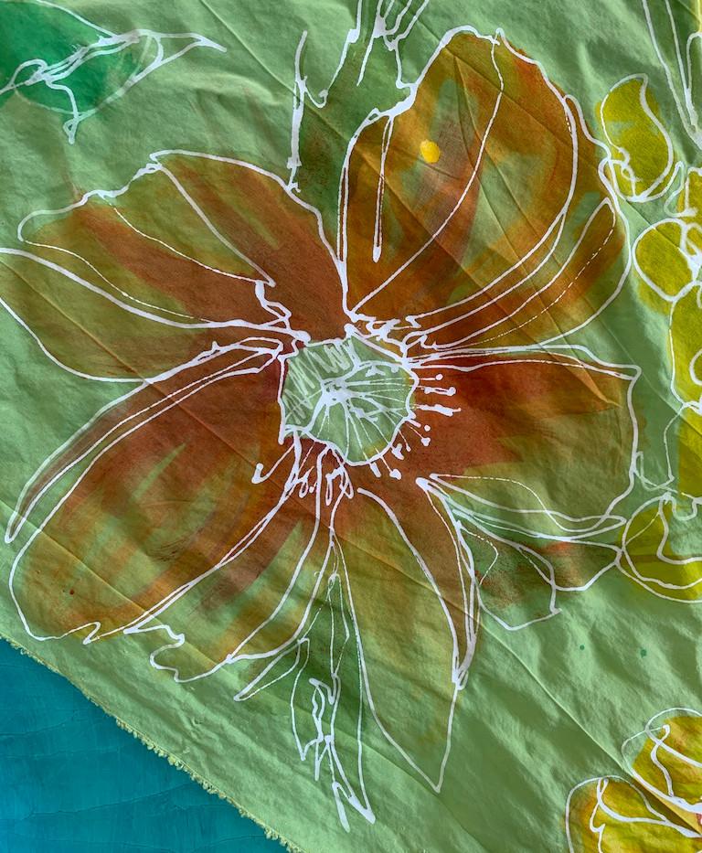 Hand-painted silk fabric