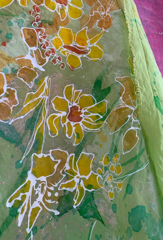 Hand-painted silk fabric