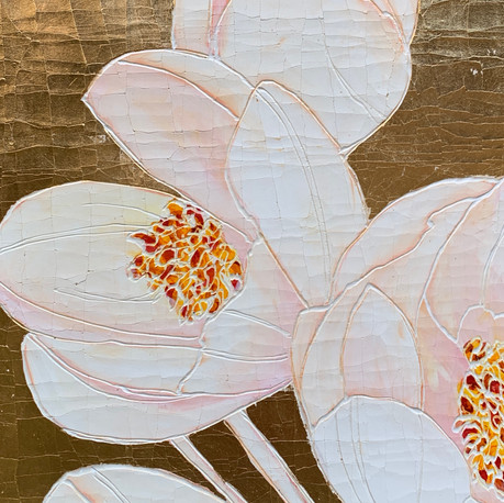 White Tulips on Gold metal Leaf 2