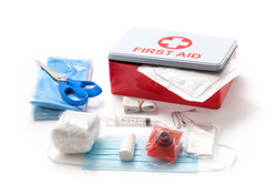 First aid kit isolated on white backgrou