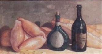Pintor de cuadros en P.R.bodegon de los panes oleo original Pintor cuadros en P.R.  cuadro de tonos muy agradable a la vista botellas de vino pan de agua pan sobao mallorca quezo