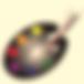 los pinceles y la paeta del pintor con colores