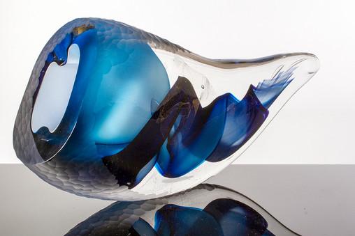 Faceted Vortex Wave, Blue.