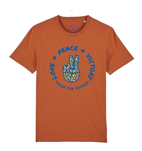 Love, Peace, Victory T-shirt orange