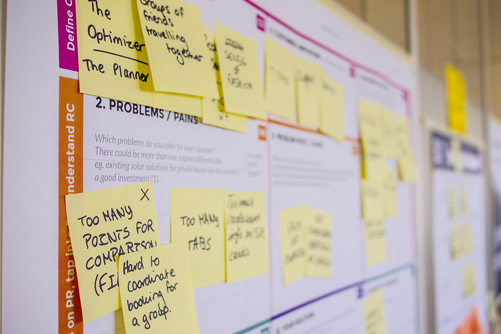 a planning board with sticky notes