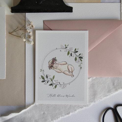 """Hallo kleines Wunder""- Postkarte A6"