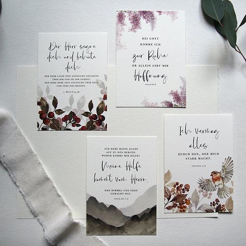 """""""Liebe zum Wort"""" - 4x Bibelvers Postkarten A6"""