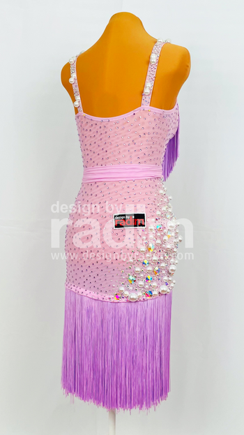 Size 0-4 Lilac Mesh, Fringe Skirt, White Pearls with Crystal Ab and Violet stones