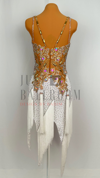 Size 0-4 White Crepe Fringe Skirt with Nude Lace Top. Gold, Crystal Ab, and Topaz Ab stones.