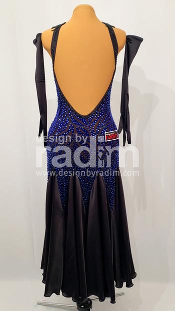 Burnt-out Sapphire Velvet on Black Mesh, Satin Skirt with Sapphire and Jet stones