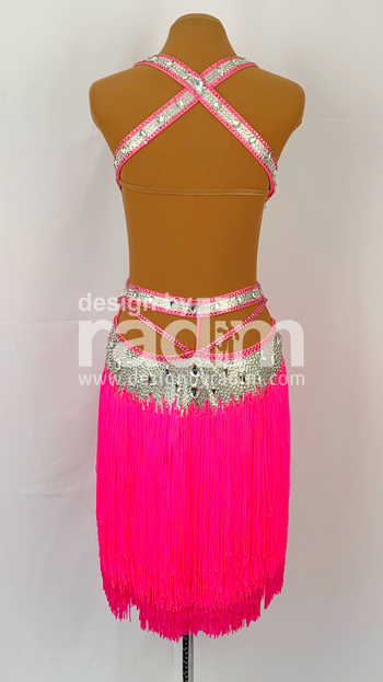 Size 2-6 Luxury Silver Metallic Lycra, Electric Pink and Fuchsia Fringe and Pavé Swarovski Crystals