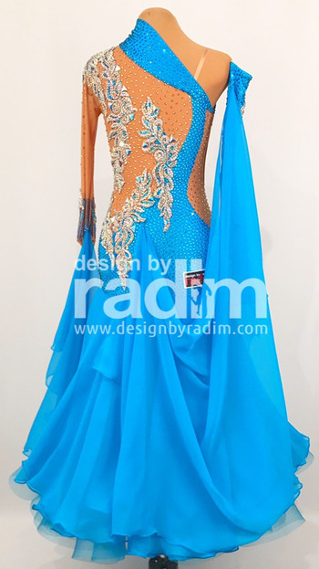 Turquoise Dance Crepe, Chiffon Skirt, Gold Lace, Bermuda Blue and Light Colorado Stones