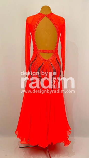 Flame Red Mesh with Chiffon Skirt with Hematite & Hyacinth stones