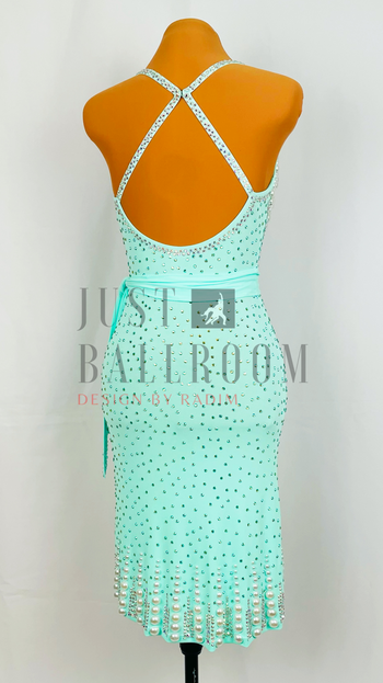 Size 0-4 Mint Crepe with Pearls, Crystal AB and Peridot AB Stones