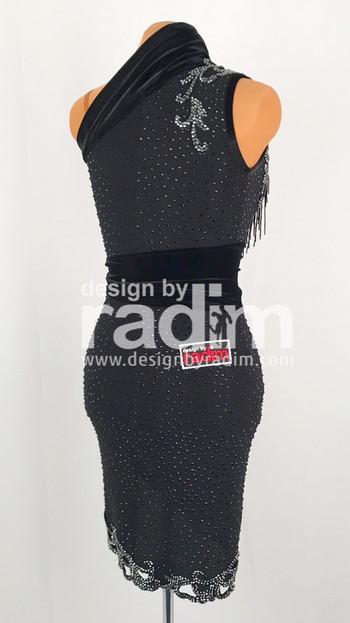 Size 0-4 Black Dance Crepe, Jet and Hematite stones and Black Glass Fringe