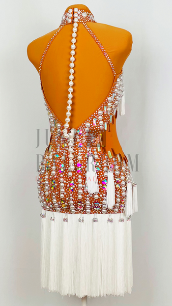 Size 0-4 Nude Crepe with White Fringe, White Pearls, and  Crystal Ab stones