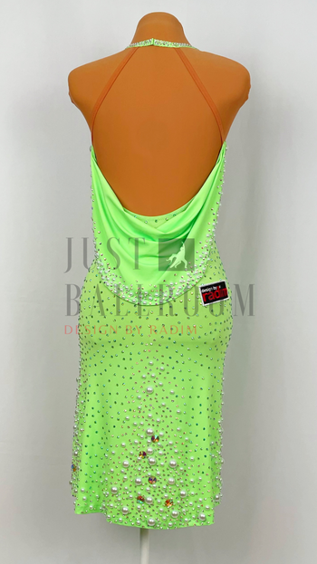 Size 0-4 Fluorescent Green Crepe, White Pearls, Crystal Ab and Peridot Ab Stones