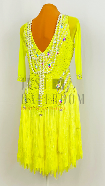 Lime Crepe, Fringe Skirt, White Pearls with Crystal AB and Citrine Stones