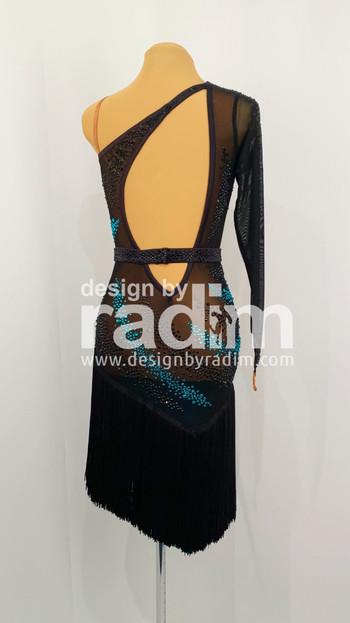 Size 2-4 Black Mesh, Black & Zircon Fringe Skirt with Jet and Blue Zircon Stones