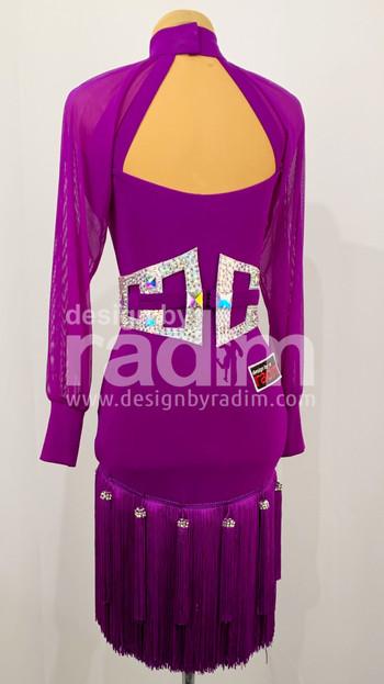 Size 0-2 Purple Rain Crepe with Mesh Sleeves; Crystal AB belt