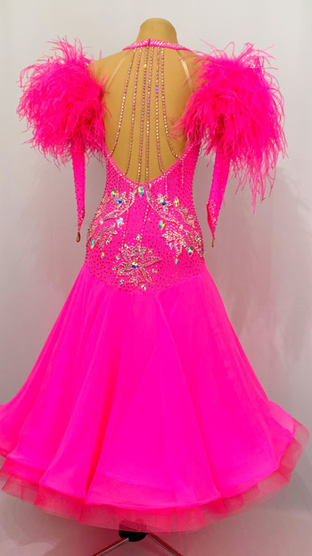 Cerise Pink with Georgette Skirt and Fuchsia and Crystal AB Stoned Lace