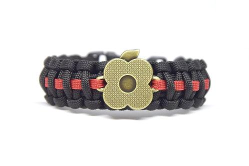 Paracord - survival náramek s mákem, černo-červený