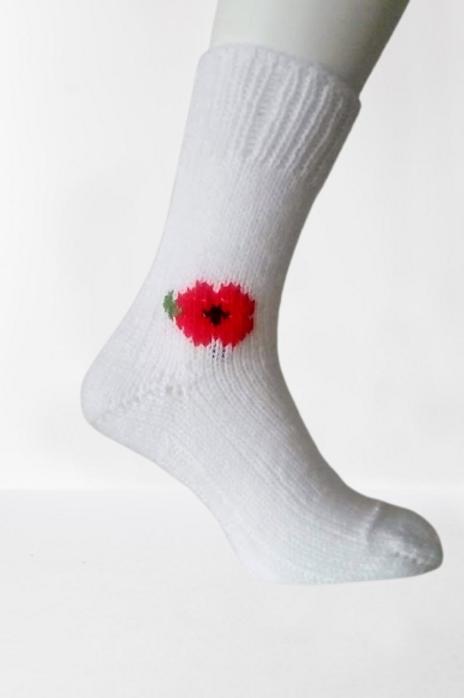 Pletené ponožky s vlčím mákem - bílé
