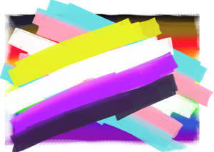 Nonbinary and Trans pride flags overlapping, with LGBTQ pride flag in background