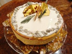 Pumpkin cheesecake with pumpkin seed brittle