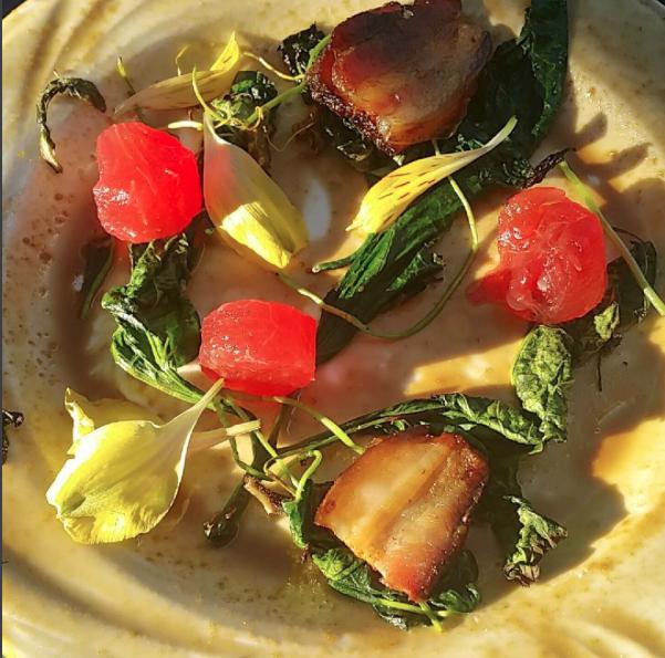 Grilled Wild Greens + Porkbelly