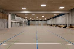 Idrætshallen er på størrelse med en håndboldbane.