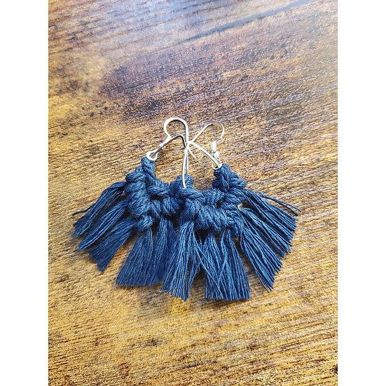 Small Peacock Teardrop Macrame Earrings