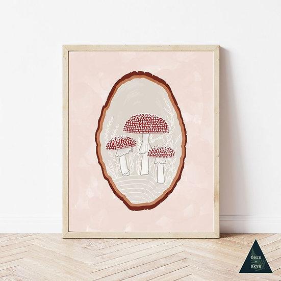 Red Mushroom Wood Slice Art Print